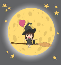 Witch cute and black cat ride on the swinging vector