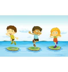 3 kids vector image
