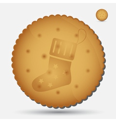 Christmas brown biscuit with sock symbol eps10 vector