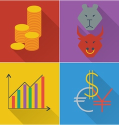 Set of four financial icons in a flat design vector
