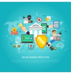 Online internet banking protection concept poster vector
