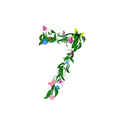 Flower number of butterflies vector