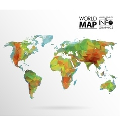 World map background in polygon vector