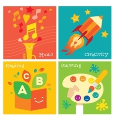 Children creativity development icon set vector