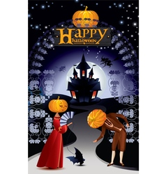 Greeting card with inscription happy halloween vector