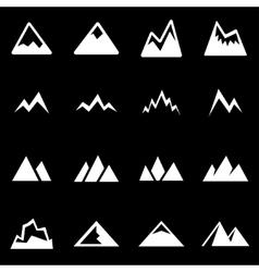 white mountains icon set vector image