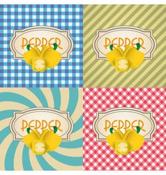 Four types of retro textured labels for pepper vector