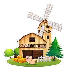 A wooden farmhouse with a playful pig vector image vector image