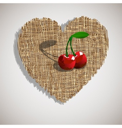 Artistic cherry on weave heart vector