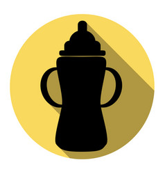 Baby bottle sign flat black icon with vector