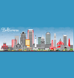 baltimore skyline with gray buildings and blue sky vector image