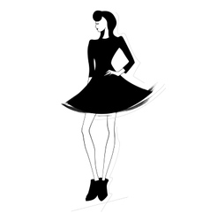 Beautiful fashion women in sketch style vector image