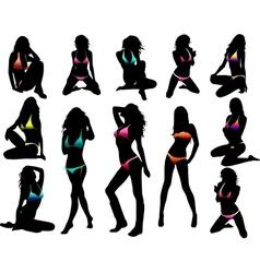 Bikini girls silhouette - vector image vector image