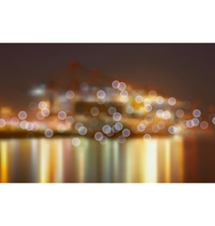 Blurred city lights by a harbour vector