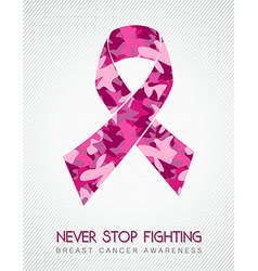 Breast cancer pink ribbon fight women camouflage vector image