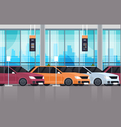 Cars dealership center showroom interior with set vector