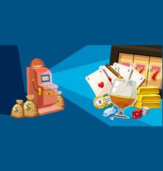 Casino winner horizontal banner cartoon style vector