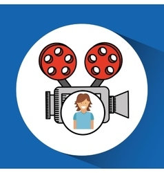 Cheerful girl conecpt cinema camera icon design vector