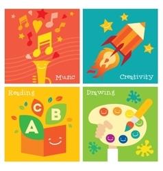 Children creativity development icon set vector