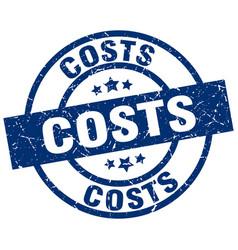 Costs blue round grunge stamp vector