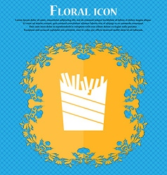 Fry icon sign floral flat design on a blue vector