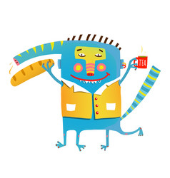 fun crazy whimsical monster with baguette bread vector image