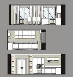 Furniture kitchen scan vector