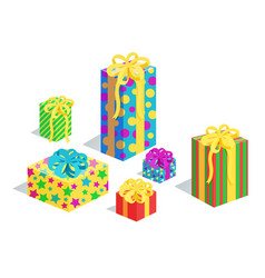 Gifts collection in wrappings vector