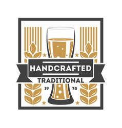Handcrafted traditional beer retro logo vector
