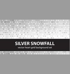 Heart pattern set silver snowfall seamless vector