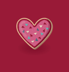 Heart shape cookie with decoration valentine vector