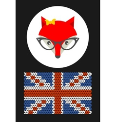 Hipster lady fox with british flag vector