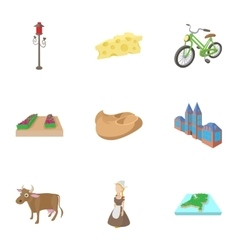 Holland icons set cartoon style vector