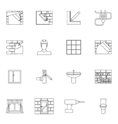 Home repair icons outline vector image