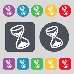 hourglass icon sign A set of 12 colored buttons vector image vector image