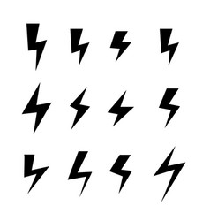Icon set of thunder bolts vector