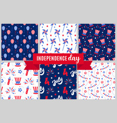 independence day of america festive pattern set vector image