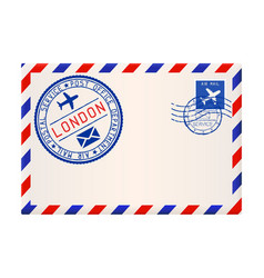 International air mail envelope from london with vector