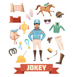 jockey ammunition decorative icons set vector image vector image