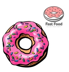logo and set the sketch of donut vector image vector image
