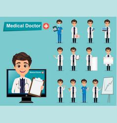 medical doctor set cute cartoon character eps10 vector image
