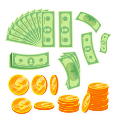 money concept paper dollar and gold coins vector image