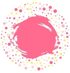 Polka dot round frame with grunge stained pink vector