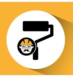 Roller man worker construction design icon vector