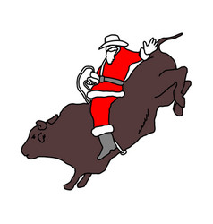 Santa claus with cowboy hat riding big bull vector