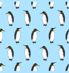 Seamless pattern of bird emperor penguin vector