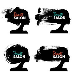 Set of beautiful girl silhouettes Logo collection vector image vector image