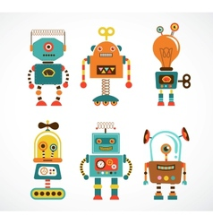 Set of vintage robot icons vector image