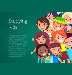 Studying kids isolated vector