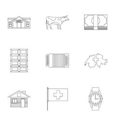 Switzerland icons set outline style vector image
